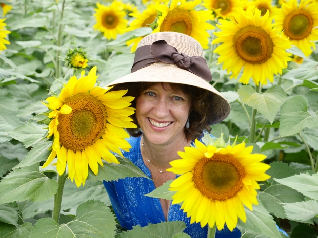 Laura Sassi with Sunflowers