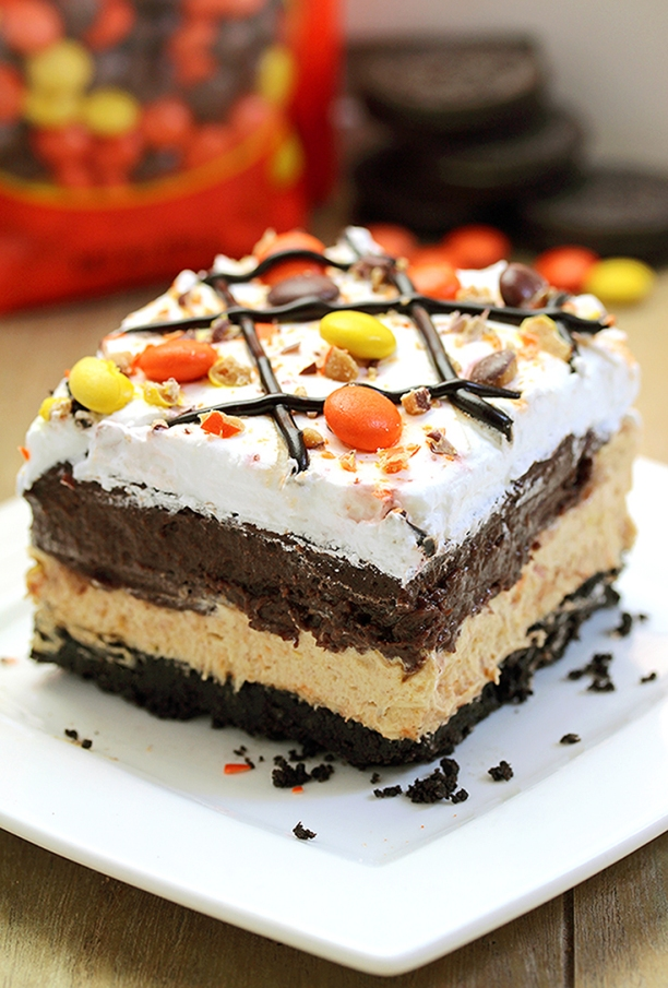 Reese's Pieces Peanut Butter Lasagna