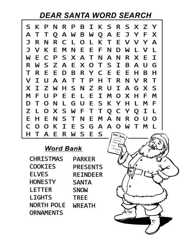 word search dear santa